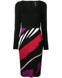 Class Roberto Cavalli - Striped Fitted Dress - Lyst