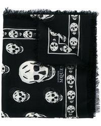 b8133db6b8aa Alexander Mcqueen Skull And Pegasus-print Wool-blend Scarf in Black ...