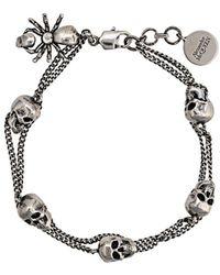 Alexander McQueen Armband mit Totenkopf-Anhänger - Mettallic