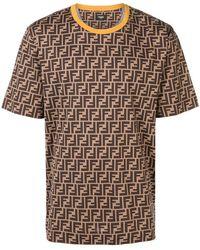 Fendi - Printed Ff Logo T-shirt - Lyst