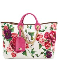 Dolce & Gabbana - Peony Print Shopper Tote - Lyst