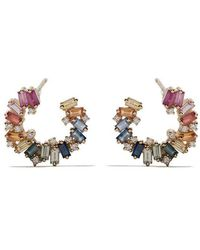 Suzanne Kalan - 18kt Yellow Gold, Diamond And Sapphire Sideways Spiral Rainbow Fireworks Earrings - Lyst