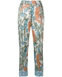 Shirtaporter - Tiger Printed Flared Trousers - Lyst
