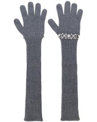 N°21 - Sequinned Ribbed Gloves - Lyst