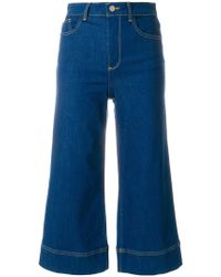 Alice + Olivia - Cropped Flared Jeans - Lyst