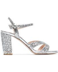 Miu Miu - Silver 85 Glitter Sandals - Lyst