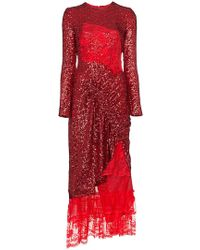 Preen By Thornton Bregazzi - Mae Lace Insert Sequin Gathered Dress - Lyst