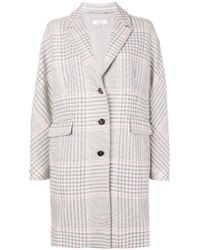 Peserico - Checked Single Breasted Coat - Lyst