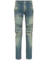 Balmain - Stretch Denim Slim Biker Jeans - Lyst
