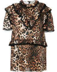 we11done - Leopard Print Ruffle Trim Dress - Lyst