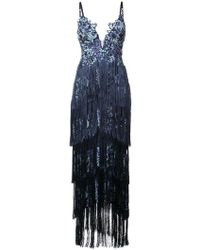 Marchesa notte - Embroidered Fringe Dress - Lyst
