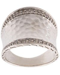 John Hardy - Classic Chain Hammered Saddle Diamond Ring - Lyst