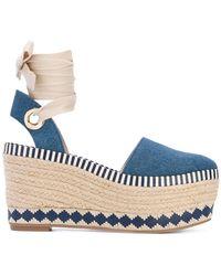 8c339dbd4ad4 Tory Burch Denim Dandy Ankle Wrap Espadrille Wedge Sandals in Blue ...
