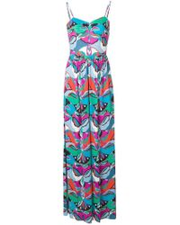 Emilio Pucci - Printed Fitted Waist Maxi Jumpsuit - Lyst