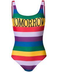 Alberta Ferretti - Tomorrow Rainbow Stripe Swimsuit - Lyst