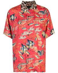 4f38447e5a1 Lyst - Gucci Embroidered Fish Logo T-shirt in Pink