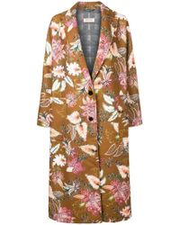 Black Coral - Floral Print Single Breasted Coat - Lyst