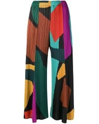 Pleats Please Issey Miyake - Micro-pleated Colour-block Trousers - Lyst
