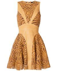 Plein Sud - Laser Cut Panelled Mini Dress - Lyst