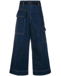 KENZO - Cropped Wide-legged Jeans - Lyst