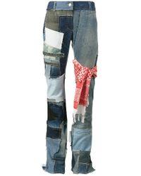 Ronald Van Der Kemp - Flared Patchwork Jeans - Lyst