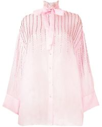 Valentino - Collared Embellished Tie Neck Blouse - Lyst