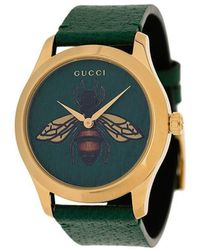 266358d4d00 Gucci - G-timeless Bee Print Leather Watch - Lyst
