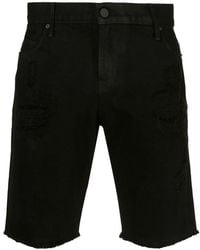 RTA - Coated Ripped Shorts - Lyst