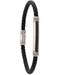 John Hardy - Silver And Woven Leather Classic Chain Bracelet With Black Sapphire Station - Lyst
