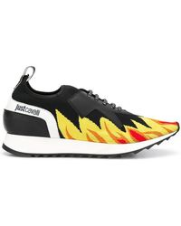 a029c334665 Just Cavalli - Flame Print Low-top Sneakers - Lyst