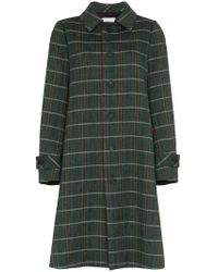 Matthew Adams Dolan - Grey, Green And White Opera Back Check Wool Coat - Lyst