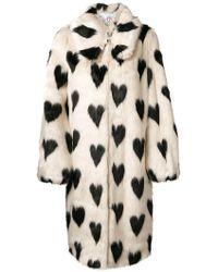 Shrimps - Heart Print Fur Coat - Lyst
