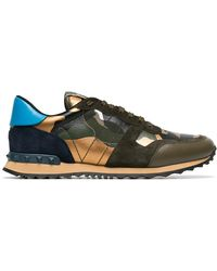 b8cb9a533176 Valentino - Khaki Rockstud Camouflage Sneakers - Lyst