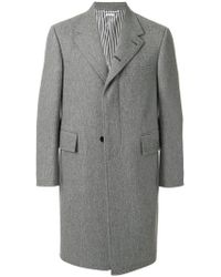 5631ea3e32be Thom Browne Detachable Gold Beaver Collar Melton Wool Chesterfield ...