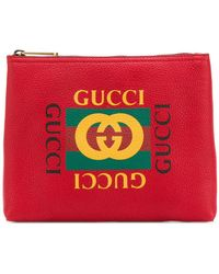 Gucci - Logo Print Clutch - Lyst