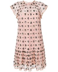 78a22470 MSGM Sequin-embellished Cotton-blend Tweed Mini Dress in Pink - Lyst