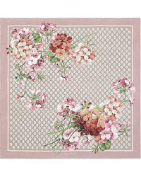 Gucci Geranium Print Scarf - Pink