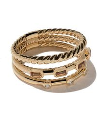 David Yurman - 18kt Yellow Gold Novella Three-row Spessartite Garnet And Diamond Ring - Lyst