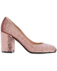Pollini - Sequinned Block Heel Pumps - Lyst