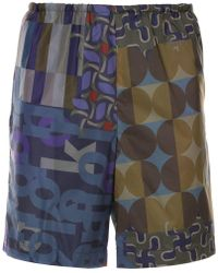Kolor - Geometric Patch-work Shorts - Lyst