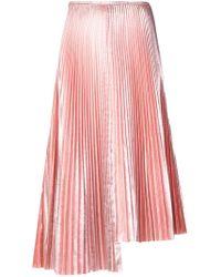 Cedric Charlier - Asymmetric Pleated Skirt - Lyst