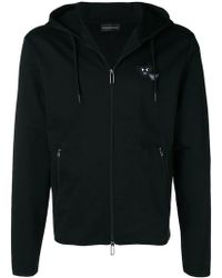 Emporio Armani - Angry Logo Zip Front Hoodie - Lyst