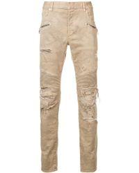 Balmain - Destroyed Camouflage Print Biker Jeans - Lyst