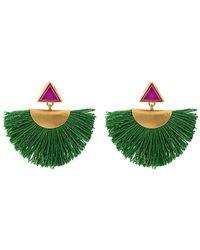 Katerina Makriyianni - Mini Fan Earrings With Purple Triangle Studs - Lyst