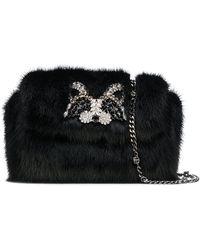 Ermanno Scervino - Rhinestone Embellished Fur Clutch - Lyst
