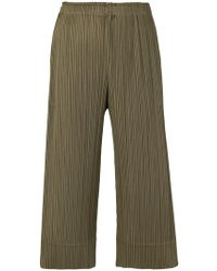 Pleats Please Issey Miyake - Pleats Please Cropped Trousers - Lyst