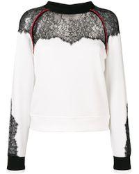 Pinko - Lace Panel Sweatshirt - Lyst