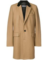 Just Cavalli - Contrast Collar Single Breasted Coat - Lyst