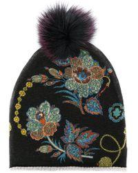 Etro - Floral Knit Pompom Beanie - Lyst