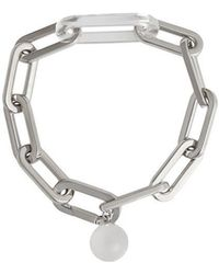 Burberry - Glass Charm Palladium-plated Link Bracelet - Lyst